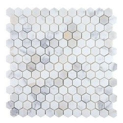 "Hexagon, 1"" Calacatta - Honed - Hexagon, 1"" Calacatta - Honed"