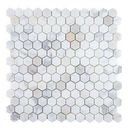 Hexagon Mosaics , Calacatta Marble, 1 Inch, Honed - Sold per Square Foot