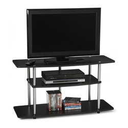 Convenience Concepts - 3-Tier Wide TV Stand in Black Finish - Sturdy 16 mm thick particle board shelves with woodgrain melamine veneer. 29 mm stainless steel clad posts for strength. Limited warranty. 42 in. W x 15.7 in. D x 21.6 in. H (37 lbs.). Assembly Instructions