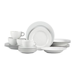 Roulette 20-Piece Dinnerware Set - Roulette features subtle concentric circles that create a soothing ripple effect. This durable, pure white porcelain lends itself to creative accessorizing. Distinctive cup, saucer and serving pieces. Mix and match with our Roulette Blue Band dinnerware.