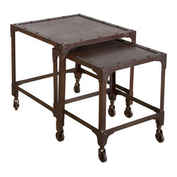 Industrial Steel Nesting Tables Set of 2 - CGS Brown - These nesting tables are made from recycled cold-rolled steel. Inspired by industrial shelves, the pop rivet corner braces and casters make a strong statement.