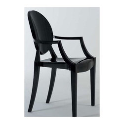 """Kartell - Louis Ghost Chair - Representing the intersection of classic baroque style and innovative modern design, the Louis Ghost Chair is both enchanting and comfortable. In a short time this chair has become an iconic piece in the canon of Philippe Starck for its instantly recognizable Louis XVI chair shape pared down to an essential form and boldly reinterpreted in plastic. The Louis Ghost Chair is sturdy and durable while displaying a delicate, ethereal, alluring appearance. Representing the intersection of classic baroque style and innovative modern design, the Louis Ghost Chair is both enchanting and comfortable. In a short time this chair has become an iconic piece in the canon of Philippe Starck for its instantly recognizable Louis XVI chair shape pared down to an essential form and boldly reinterpreted in plastic. Made of transparent or batch-dyed polycarbonate in a wide range of color choices, the Louis Ghost Chair is sturdy and durable while displaying a delicate, ethereal appearance. This versatile armchair, suitable for indoor and outdoor use, has been featured in numerous magazines and adds elegance and lively panache to any number of settings. Designed by: Philippe Starck, 2002 Features at a Glance:  Louis Ghost Chair Features: -Made of transparent or batched-dyed polycarbonate. -Shock, scratch and weather resistant. -Stackable up to six chairs high. -Can be used indoors or outdoors. -Suitable for residential and commercial use. -Enjoy a discount on a set of 4 Louis Ghost Chairs. -Made in Italy. Dimensions: -37.2"""" H X 21.4"""" W X 21.8"""" D. -Seat height: 18.66"""". -Arm height: 26.38"""". Quality: -In 2005, Kartell received accreditation for its Quality Management Systems according to the ISO 9001: 2000 standard. The attainment and preservation of this certification testifies to Kartell's commitment to high quality and continued research into higher levels of quality in company management systems. Helping the Environment: -Kartell products use a wide variety o"""