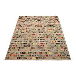 Stencil City All-weather Outdoor Area Rugs - This rug is tons of fun. I keep wondering, if I buy a bigger version, do I get more cities? Regardless, the colorful font makes this rug pop out. It would be a great addition to an outdoor space. Since it comes in so many sizes, it's also versatile, buy two and makes spaces separate but tied together.