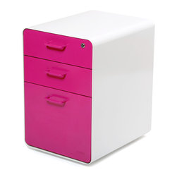 "Poppin - West 18th File Cabinet, White/Pink - Add this one to the style file. Smooth, sexy powder-coated steel comes in pure white and several eye-popping colors and the sleek white even continues inside. It features two utility drawers with dividers and one hanging file drawer, all of which lock to keep your private files private — or your afternoon ""crash"" candy out of reach."