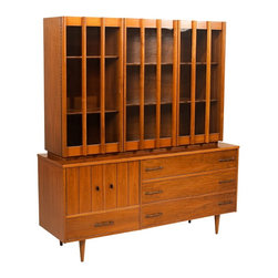 Unbranded - Consigned Mid Century Walnut Glass Two Piece Glass Hutch - • Mid Century Modern