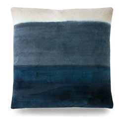 "Colorfield Pillow - 20"" - A soothing wash of cream, slate and navy dance across the Colorfield Pillow like a watercolor painting in an abstract form. An excellent choice for a master suite sofa or chair, this accent piece brings a sense of calm to any space with its minimal coloring and soft patterning."