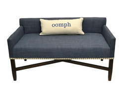 X - Bench - Cadet Blue - The newest addition to oomph�s seating, the X-Bench is a design-forward solution to casual and temporary seating.  Great for entry ways, narrow halls, banquet seating, or in front of a bed.  Available in 8 different Belgium linens or in your own fabulous fabric. The X-Bench is part of the oomph Designer Collection. 5 yards required of COM plain fabric. Made in the U.S.A.