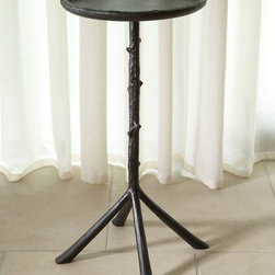Mini Twig Table - Aged Bronze Finish - An unusual, updated take on the antique fashion for faux bois, the Mini Twig Table is finished in a dark, nearly-black bronze metallic that gives a stately air to the faint whimsy of the realistically-modeled branch support and textured rim.  Four pad feet, slightly splayed to balance the diameter of the round tabletop, enhance the pleasing look of unconventional woodland style.