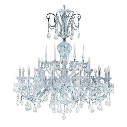 """Inviting Home - Large Bohemian Crystal Chandelier (traditional crystal) - large Bohemian traditional crystal chandelier with cut crystal trimmings; 47"""" x 59""""H (18 lights); assembly required; 18 light clear traditional crystal chandelier with hand-molded arms and machine-cut crystal trimmings; all metal parts are chromium plated; genuine Czech crystal; * ready to ship in 2 to 3 weeks; * assembly required; This chandelier is a part of Bohemian Classic Collection. Under the name """"Bohemian chandeliers"""" it is impossible to imagine nothing more characteristic than crystal machine-cut chandeliers. Their all-crystal appearance with added non-glass materials makes them ideal representatives of the traditional Bohemian classic. The crystal beauty is then enhanced by mouth-blown cut components or hand-cut chandelier trimmings used. It is just these elements that rank these fixtures among """"jewels"""" illuminating luxurious interiors. The tradition of production luxurious appearance and classical morphology are the common denominator of all these chandeliers. To manufacture these almost 90 percent is hand-completed: mouth-blowing cutting and other techniques applied when working glass and metals. Machine-cut crystal chandelier trimmings and artistically chased metal parts provide a stamp of luxury. Devotees of these lighting fixtures come mostly from the circles of the lovers of magnificent designs created in the style of the timeless classic. Every component passes thorough strict internal Quality Control processes. Highest quality European production with certified standards. UL approved - dry location; hardwire; 18x E12/14 - 40W bulbs; bulbs not included. 3 to 4 feet chain drop provided. Hand crafted in Czech Republic."""