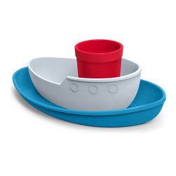 Fred and Friends - Tug Bowl Dinner Set - Ahoy, matey!  Fred's chubby, playful tugboat doubles as a toy before dinner, then seperates into a plate, a bowl and a cup when its time to eat