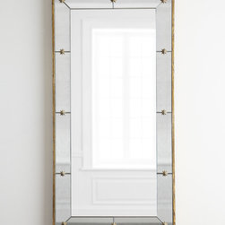 """Horchow - Star Knob Mirror - Star Knob MirrorDetailsEXCLUSIVELY OURS.Plain mirror framed in antiqued beveled mirrors held in place with star decor.Wood composite backing.Hangs vertically or horizontally.27""""W x 2.5""""D x 54""""T.Imported.Weight 41.8 lbs. Boxed weight approximately 60 lbs. Please note that this item may require additional shipping charges."""