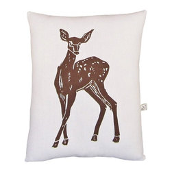 """Artgoodies - Deer Block Print Squillow Accent Pillow - A cute accent pillow for your couch, chair, or bed! An original hand carved linocut block print has been hand printed on 100% cotton, sewn together with vintage fabric, and filled with poly-fil. Features: -Fabric: Front 100% white cotton; back coordinating vintage fabric. -Size: Overall dimensions 8.5"""" by 10.5"""". -Color: Brown. -Original hand carved linocut block print design by artist Lisa Price. -Coordinated with vintage fabric back and filled with poly-fil. -Hand printed and sewn in Grand Rapids, Michigan. -Please note that due to the hand-printed nature of this product, the fabric backing will vary slightly by pillow.."""
