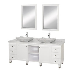 Wyndham Collection - 72 in. Eco-Friendly Modern Bathroom Vanity - Includes natural stone counter, backsplash, two vessel sinks and matching mirror. Faucets not included. Engineered to prevent warping and last a lifetime. Highly water-resistant low V.O.C. finish. 12 stage wood preparation, sanding, painting and finishing process. Floor standing vanity. Deep doweled drawers. Fully extending bottom mount drawer slides. Soft close concealed door hinges. Single hole faucet mount. Plenty of storage space. Brushed steel leg accents. Metal hardware with brushed chrome finish. Two doors and six drawers. White Carrera marble top. White Carrera marble sinks. Made from zero emissions solid oak hardwood. White finish. Vanity: 72 in. W x 22.5 in. D x 36 in. H. Mirror: 24.25 in. W x 36.25 in. H. Handling InstructionsCutting edge, unique transitional styling. A bridge between traditional and modern design, and part of the Wyndham Collection Designer Series by Christopher Grubb, the Premiere Single Vanity is at home in almost every bathroom decor, resulting in a timeless piece of bathroom furniture.