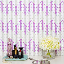Kimberly Lewis - Sierra Wallpaper in Aubergine - Kimberly Lewis - A twenty-first century take on classic chevron, Sierra is bold, cheeky, but most definitely still a lady. Kimberly Lewis wallpaper is hand screen printed in the United States using environmentally friendly water-based ink and clay-coated paper. All paper comes untrimmed and are Class A Fire rated.