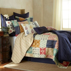 Levtex, Llc - Jasmin Quilt - Inspired by the colors and patterns of India, the Jasmin quilt is sure to spice up your bedroom with a fabulous array of block prints and textures. This quilt reverses to a beautiful gold block print for two exciting looks in one.