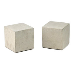 Rough Fusion - Modern Concrete Bookends - Cube, Natural Concrete - Concrete bookends, modern and simple in shape, classic concrete texture. These are solid, heavy pieces that will keep your books in place.