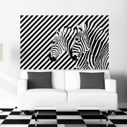 ColorfulHall Co., LTD - Modern Geometric Zebra Stipe Wall Art Decoration Jungle Animal Wall Decals - You will find hundreds of affordable peel - and - stick wall decal designs, suitable for all kinds of tastes and every room in your house, including a children's movie theme, characters, sports, romantic, and home decor designs from country to urban chic. Different from traditional decals, vinyl wall decals is with low adhesive that allows you to reposition as often as you like without damaging the paint. Application is easy: peel offer the pre-cut elements on the design with a transfer film, and then apply it to your wall. Brighten your walls and add flair to your room is just as easy.