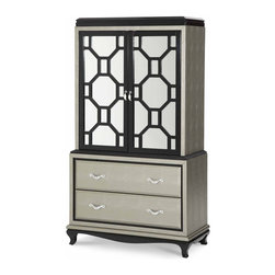 """AICO Furniture - """"Michael Amini"""" 2-Door Chest in Black Onyx and Titanium - The After Eight Chest includes: 2 Door Chest Top and 2 Drawer Chest Base."""