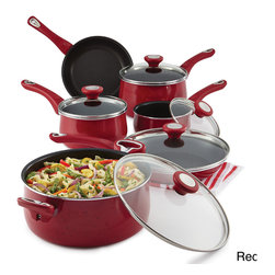Farberware - Farberware New Traditions Speckled Aluminum Nonstick 14-piece Cookware Set with - Grace the stovetop with the refreshing color of the Farberware New Traditions Speckled Aluminum Nonstick 14-piece Cookware Set. New Traditions pairs the time-tested trust and reliability of Farberware with colorful,updated style.