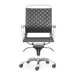 Zuo Modern - Zuo Modern Jackson Black Office Chair - Zuo Modern Jackson Black Office ChairYou'll want to whistle while you work with Zuo Modern's Jackson Black Office Chair behind your desk. This swanky chair features a supple black leatherette seat, which is accented by quilted stitching. Sleek chrome framing adds some contemporary appeal, so you can wheel this chair behind a metal-and-glass table or pair it with a massive wood desk. Who knew work could look so good?Rolling adjustable baseMade in China