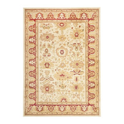 "Safavieh - Heirloom Brown/Red Area Rug HLM1741-1140 - 4' x 5'7"" - Safavieh's Heirloom collection offers the beauty and painstaking detail of traditional Persian and European styles with the ease of polypropylene. With a symphony of florals, vines and latticework detailing, these beautiful rugs bring warmth and life to any room."