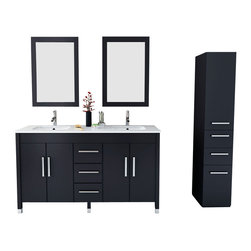 "JWH Imports - 59"" Sirius Contemporary Double Sink Bathroom Vanity With Stone Top - If you like the cabinet design of the Sirius Double Vessel Sink Vanity, but prefer a more transitional look, then the 59"" Sirius Double Sink Vanity is the perfect match for you. With its deep Espresso finish that gives it an almost black appeal with a subtle brown hue, this vanity is made to fit in any bathroom with ease. Its cabinet is constructed from solid oak and features two double-door cabinets and three central drawers. Each door and drawer front is adorned with a Chrome finished handle and equipped with soft-closing mechanisms to ensure the durability of your new vanity. The countertop is composed of a contrasting white microlite stone and complemented with two porcelain undermount sinks. For a complete look, mirrors and a side cabinet make great additions to the Sirius Double Sink Vanity."