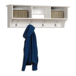 Prepac White Entryway Cubbie Shelf - Additional features Easy-to-install 2-piece hanging rail system is included Assembly is quick and easy Storage baskets are not included Add more than just function to your foyer. Add style too with the Prepac White Entryway Cubbie Shelf. Constructed of high-quality composite wood laminate this hanging rack features three open storage compartments perfect for tucking away hats gloves or even the mail. The storage baskets pictured are not included. Below the cubbies are four double hooks in a striking silver finish. Now you'll always have a spot for your jackets coats and scarves. This clean white finish is sure to brighten up any room.