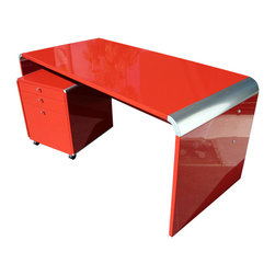 Chic Lacquered Desk and Drawer Unit - This glossy red desk is all about glamour, and it will certainly add a touch of power to your workspace!