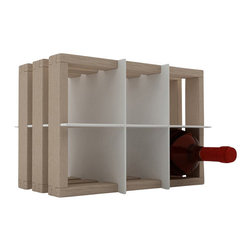 Rustic Wooden Wine Rack, White - It's a simple wine rack that can be stacked, placed on another piece of furniture, or wall-mounted side-by-side.