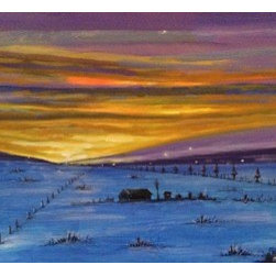 Snowy Twilight (Original) by Michael Kane - We would drive around the rural parts of New Jersey in our VW bus circa 1965.