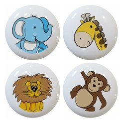 Carolina Hardware and Decor, LLC - Set of 4 Jungle Safari Animal Head Ceramic Knobs - Set of four new 1 1/2 inch ceramic cabinet, drawer, or furniture knobs with mounting hardware included. Also works great in a bathroom or on bi-fold closet doors (may require longer screws). Great addition and nice finishing touch to any room!