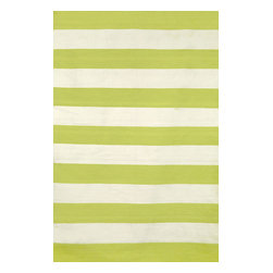 """Trans-Ocean - Rugby Stripe Lime 5' x 7'6"""" Indoor/Outdoor Flatweave Rug - Simple stripe patterns combine with sophisticated blended colors in this Indoor/Outdoor flatweave. 100% Polyester, this flat weave reversible rug is easy to care for and great for any indoor outdoor space. Soft Polyester is tightly hand woven by artisans in India with great attention paid to detail such as the serging to create this durable yet attractive Indoor Outdoor rug."""
