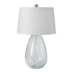 "Regina Andrew - Regina Andrew St. Barts Glass Table Lamp - A rounded glass base lends this Regina Andrew St. Barts table lamp clear and contemporary style. Paired with a white round shade, the light fixture illuminates side tables with refined panache. 15""W x 15""D x 24""H; Glass; Accepts one 150W bulb (not attached); 3-way turn knob"