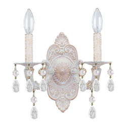 Crystorama Lighting - Crystorama Lighting 5022-AW-CL-MWP Sutton Transitional Sconce in Antique White - Crystorama Lighting 5022-AW-CL-MWP Sutton Transitional Sconce in Antique White with Clear Hand Cut Crystal