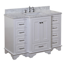 Kitchen Bath Collection - Nantucket 48-in Bath Vanity (Carrara/White) - This bathroom vanity set by Kitchen Bath Collection includes a white cabinet with soft close drawers, double thick Carrara marble countertop, double undermount ceramic sinks, pop-up drains, and P-traps. Order now and we will include the pictured three-hole faucets and a matching backsplash as a free gift! All vanities come fully assembled by the manufacturer, with countertop & sink pre-installed.