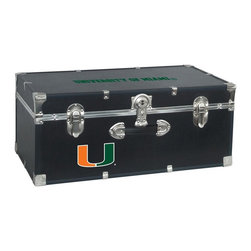 Seward Trunk - Miami Storage Trunk - Officially licensed. Front center key lock. One handle on the front. Paper lined to help protect interior contents. Screen printed logo. Heavy gauge vinyl. Nickel hardware and trim. Made from wood. Black finish. Made in USA. 30 in. L x 15.75 in. W x 12.25 in. H (18 lbs.)Storage you can show off!!!