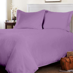 Egyptian Cotton Fitted Sheet With Duvet Set 800 TC Solid (Queen, Lilac) By Fanta - This is 1 Fitted sheet (60 x 80 inches), 1 Duvet Cover (88x88 inches) and 2 Standard Size Pillowcases (20x30 inches) only.