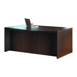 "Mayline - Mayline Aberdeen Bow Front Wood Desk in Mocha-72"" - Mayline - Computer Desks - ABD7242LDC - The Aberdeen Series of laminate case goods combine fashionable aesthetics and unparalleled quality all in a package that is surprisingly affordable. Aberdeen's transitional style allows it to fit into any environment whether it be modular multi-station work areas or executive offices. Aberdeen provides exceptional abrasion and stain resistance along with technology and cable friendly components."