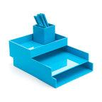 Poppin - Desktop Set, Pool Blue - Bundle includes: Pool Blue Letter Trays; Pool Blue Accessory Tray; Pool Blue Pen Cup; 1 box Pool Blue Signature Ballpoints