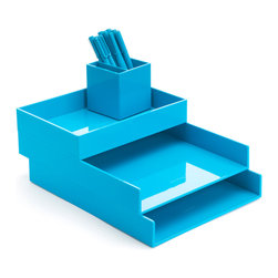 Poppin - Desktop Set, Pool Blue - Bundle includes: Pool Blue Letter Trays; Pool Blue Accessory Tray; Pool Blue Pen Cup; 1 box Pool Blue Signature Ballpoints