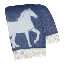 """Happy Blanket - 100% New Zealand Wool Throw Blanket 51"""" X 67"""", Blue - The Horse blanket is a perfect jazz up for your deco, for cozy snuggling in the cold winter evening, or just to add extra warmth on your bed. Great present for the young and older."""