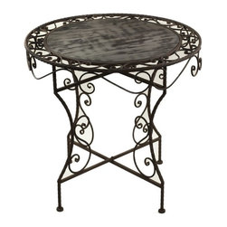 30.25  X 28 IN Round Wooden Table - Beautiful round wooden table with metal frame accents.