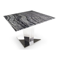 Zuri Furniture - Black and White Marble Brushed Stainless Steel Sirah End Table - The Sirah End Table is smartly dressed in a black marble top with white veining and a brushed stainless steel base. The simple elegance of this square end table will surely add a touch of style to your modern home. Pair with the Sirah Coffee Table to complete the look.
