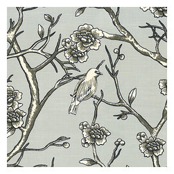 Gray Modern Chinoiserie Cotton Fabric - Ice gray modern chinoiserie print with blossoms & birds branching out across a soft lightweight cotton.Recover your chair. Upholster a wall. Create a framed piece of art. Sew your own home accent. Whatever your decorating project, Loom's gorgeous, designer fabrics by the yard are up to the challenge!