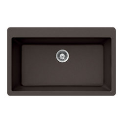 Houzer - Houzer Quartztone V-100 MOCHA Large Single Bowl Topmount Sink - Houzer granite kitchen sink Quartztone Series Topmount Large Single Bowl - MOCHA