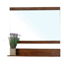 Bellaterra Home - Solid Wood Frame Mirror-Walnut - Solid wood frame and high quality mirror to prevent rusting caused by humidity. Additional free standing style shelf for additional storage space. Dimension: 39.4 W x 4.75 D x 33.5 H