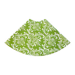 Sir Charles Tree Skirt - A bright and fun accessory to adorn your holiday tree with, the Sir Charles Tree Skirt is simply enchanting. Helpful in keeping stray pine needles from the floor and great for a base to stack presents on, this pretty green and white classic baroque style pattern is sure to garner attention from your holiday guests.