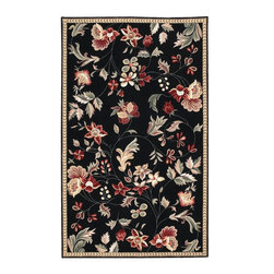 "Surya - Country & Floral Flor 2'x2'9"" Rectangle Black-Tan  Area Rug - The Flor area rug Collection offers an affordable assortment of Country & Floral stylings. Flor features a blend of natural Black-Tan  color. Hand Hooked of 100% Wool the Flor Collection is an intriguing compliment to any decor."