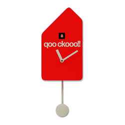 Progetti - Q01 1695 Red Wall Clock - Cuckoo clock made in wood. Battery quartz movement. The Cuckoo strike is switched off automatically during the night controlled by a light sensor