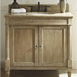 "Fairmont Designs - Fairmont Designs Rustic Chic 36"" Vanity - Weathered Oak - Designed to flaunt the beauty of its wood, Rustic Chic invites you to bring a touch of texture to your bath. The earth-bound, organic look derives its appeal from clean lines and tactile Weathered Oak veneers, accented with subtle brass finished knobs. A variety of cabinet sizes and configurations allows you to customize your space...naturally. Fairmont Designs is described in two words; quality and beauty. Express your creativity with Fairmont Designs bathroom vanities and bath furniture ensembles. The distinctive families of bath furniture from Fairmont Designs come in styles for every bath. Artistry and elegance are delivered in carefully constructed products built with sustainable materials and sturdy craftsmanship. From petite corner solutions to traditional sized pieces, Fairmont Designs is your choice for exquisite and timeless beauty.Features: Materials: White Oak Veneers with White Oak Solids Hinges: Fully concealed, soft closing Doors: 2 Hardware: Brass Shelf: 1 (adjustable) Dimension: 36""W x 21-1/2""D x 34-1/2""H (not including counter) How to handle your counter View Spec Sheet Natural stone like marble and granite, while otherwise durable, are vulnerable to staining from hair dye, ink, tea, coffee, oily materials such as hand cream or milk, and can be etched by acidic substances such as alcohol and soft drinks. Please protect your countertop and/or sink by avoiding contact with these substances. For more information, please review our ""Marble & Granite Care"" guide."